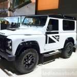 Land Rover Defender Black Pack front three quarter for France at the 2014 Paris Motor Show