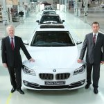 Mr. Philipp von Sahr, President - BMW Group India with Mr. Robert Frittrang, MD - BMW Plant Chennai with the 40,000th locally-produced car