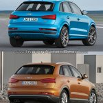 2015 Audi Q3 facelift vs older model rear