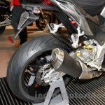 Aprilia Tuono V4 1100 RR silencer at EICMA 2014