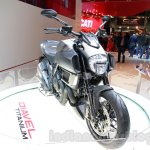 Ducati Diavel Titanium front three quarters right at EICMA 2014