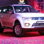 Mitsubishi Pajero Sport AT front three quarters zoom-in at the Indian launch