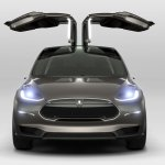 Tesla Model X doors open press shot