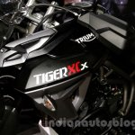 Triumph Tiger 800 XCx badge at EICMA 2014