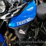 Triumph Tiger 800 XRx badge at the EICMA 2014