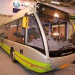 Ashok Leyland Optare Versa EV front quarters at the Bus and Special Vehicles Show 2015