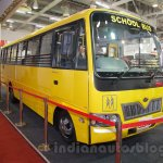 Mahindra Tourister School Bus front quarters at Bus and Special Vehicles Show 2015