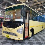 Tata 1512 Luxury Bus front quarters at the Bus and Special Vehicles Expo 2015