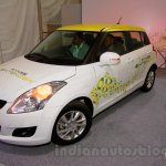 Maruti Swift Range Extender front three quarters at the International Green Mobility Expo
