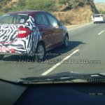 New Ford Figo compact sedan rear three quarters spied India