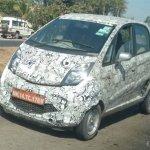 Tata Nano facelift front quarter spied