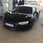 2016 Audi R8 front three quarter spotted at a fuel station