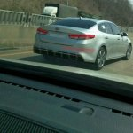 2016 Kia Optima spy shot rear three quarters right third image