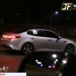 2016 Kia Optima spy shot rear three quarters right
