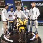 Bajaj Pulsar 200SS with distributor officials at the Eurasia Moto Bike Expo 2015