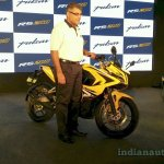 Bajaj Pulsar RS200 front three quarter live front the launch