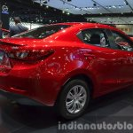 Mazda2 Sedan petrol variant rear three quarter at the 2015 Bangkok Motor Show