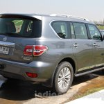 Nissan Patrol rear three quarter right from its preview in India