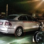 VW Vento facelift rear three quarter for India spotted on test