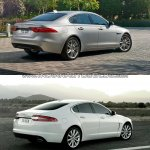 2016 Jaguar XF vs 2012 Jaguar XF rear three quarter