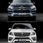 2016 Mercedes GLE Class vs 2012 Mercedes M Class front