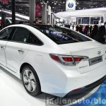 Hyundai Sonata Hybrid rear three quarter at Auto Shanghai 2015