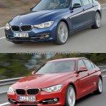 2015 BMW 3 Series facelift vs older model front quarter