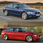 2015 BMW 3 Series facelift vs older model front