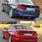 2015 BMW 3 Series facelift vs older model rear quarter