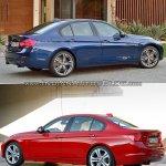 2015 BMW 3 Series facelift vs older model rear quarters
