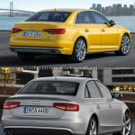 2016 Audi A4 (B9) vs 2013 Audi A4 (B8) rear three quarter old vs new
