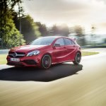2016 Mercedes A Class AMG Line (facelift) front quarter (1) revealed press image