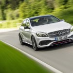 2016 Mercedes A Class AMG Line (facelift) front quarter revealed press image