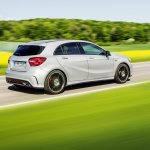 2016 Mercedes A Class AMG Line (facelift) rear three quarter revealed press image