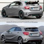 2016 Mercedes A Class Motorsport package vs 2012 Mercedes A Class AMG Line rear quarter Old vs New