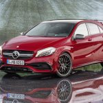 2016 Mercedes A45 AMG (facelift) front three quarter revealed press image