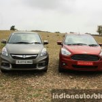 2015 Ford Figo Aspire Titanium 1.5 Diesel with Maruti Swift Dzire front first drive review