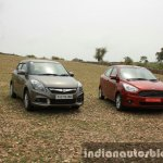 2015 Ford Figo Aspire Titanium 1.5 Diesel with Maruti Swift Dzire front quarter first drive review