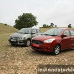 2015 Ford Figo Aspire Titanium 1.5 Diesel with Maruti Swift Dzire front three quarter first drive review