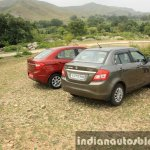 2015 Ford Figo Aspire Titanium 1.5 Diesel with Maruti Swift Dzire rear quarter first drive review