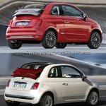 2016 Fiat 500 (facelift) vs 2007 Fiat 500 cabrio rear three quarter Old vs New
