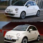 2016 Fiat 500 (facelift) vs 2007 Fiat 500 front three quarter Old vs New