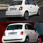 2016 Fiat 500 (facelift) vs 2007 Fiat 500 rear quarter Old vs New