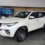 2016 Toyota Fortuner front three quarter on the showroom floor post unveil
