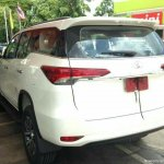 2016 Toyota Fortuner rear angle spyshot from Thailand (white body colour)