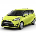 2016 Toyota Sienta front quarter in air yellow unveiled in Japan