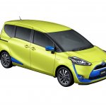 2016 Toyota Sienta front three quarter in air yellow with blue accents unveiled in Japan