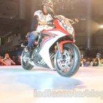2015 Honda CBR 650R front quarter low launched