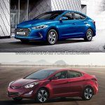 2016 Hyundai Elantra vs older model side