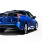 2016 Toyota Prius blue rear three quarters North American specification official image